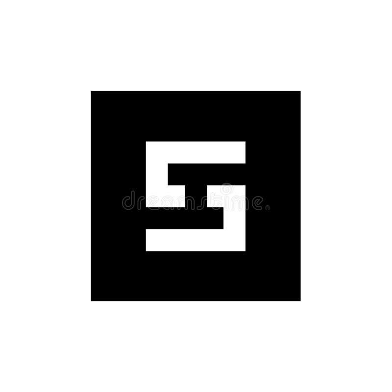 Logotipo del icono de la letra S de Digitaces, combinado con forma cuadrada, ejemplo blanco y negro libre illustration