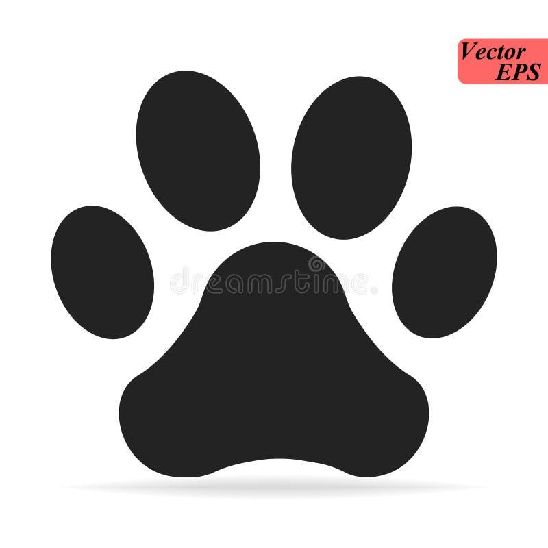 Logotipo del icono de Paw Print Ilustración del vector Ilustración aislada del vector Negro en el fondo blanco stock de ilustración