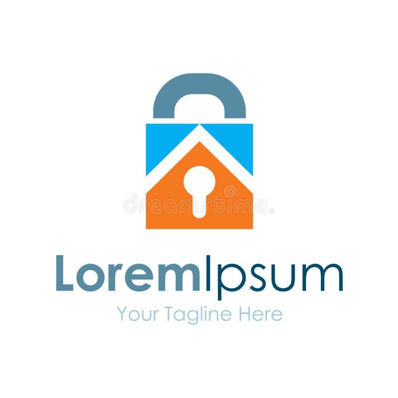 Logotipo del icono del elemento del negocio de las propiedades inmobiliarias del bloqueo de teclas stock de ilustración