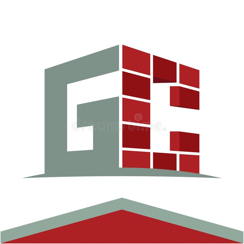 Logotipo del icono para el negocio de construcción con la combinación de las iniciales de las letras G y C stock de ilustración