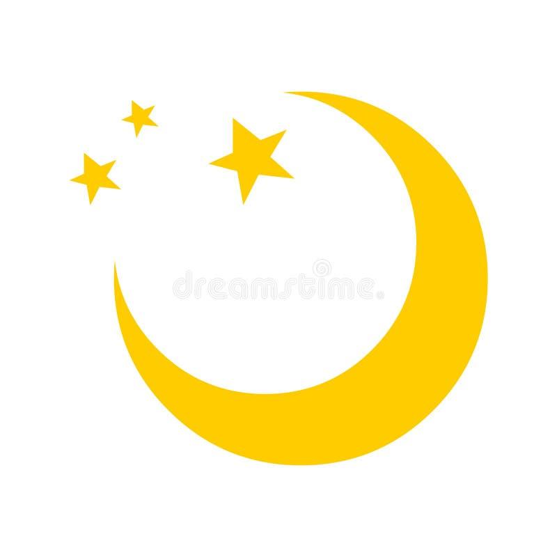 Logotipo del icono del vector de la luna Ilustración de la luna y de las estrellas ilustración del vector