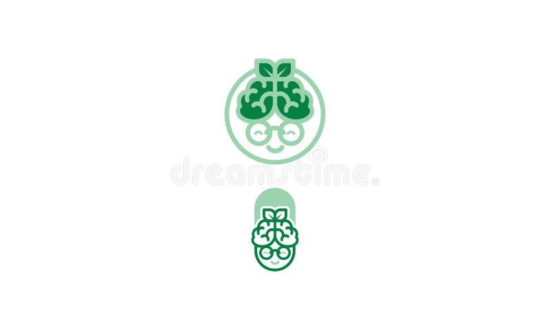Logotipo del icono del vector de la salud del cerebro de la abuela libre illustration