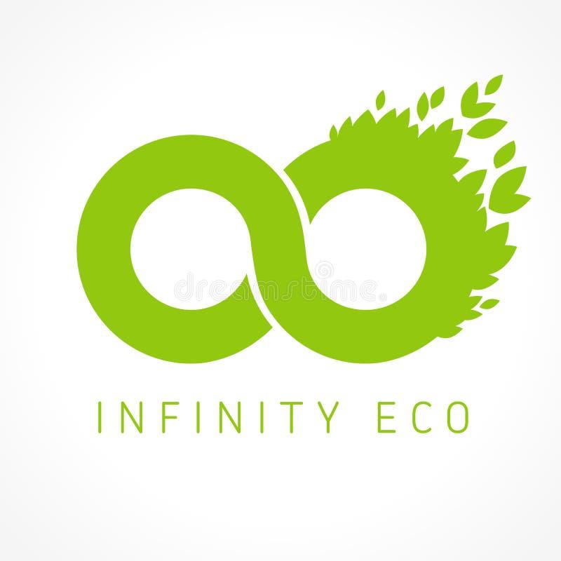 Logotipo del infinito con las hojas stock de ilustración