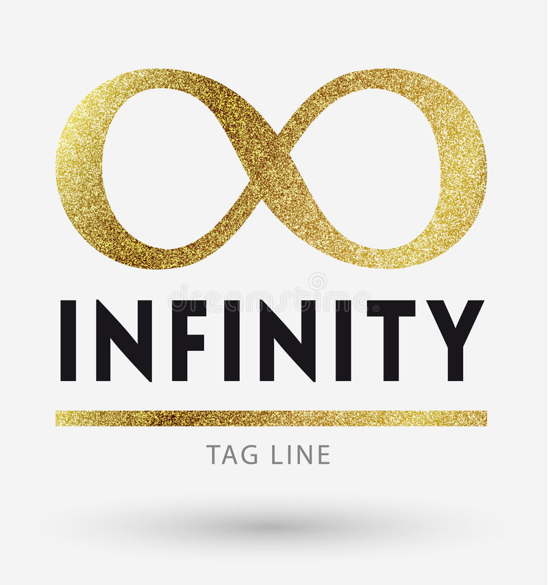 Logotipo del infinito en de oro stock de ilustración