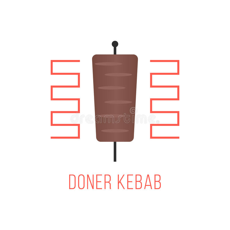 Logotipo del kebab de Doner aislado en el fondo blanco libre illustration