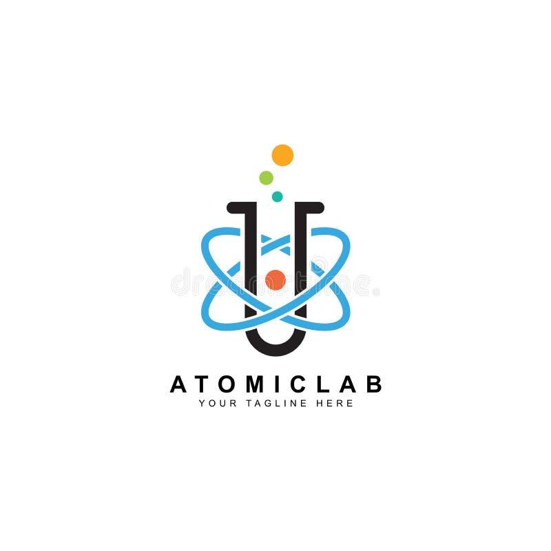 Logotipo del laboratorio de ciencia, ejemplo del diseño del vector del núcleo atómico stock de ilustración
