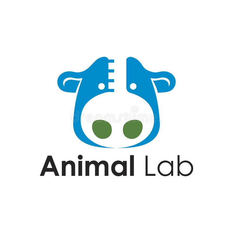 Logotipo del laboratorio de investigación de la granja del tubo de la reacción de la prueba animal de la vaca libre illustration