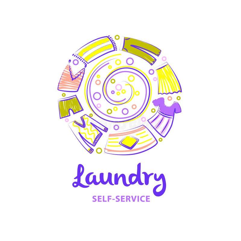 Logotipo del lavadero de autoservicio Laun creativo de la plantilla exhausta a pulso ilustración del vector