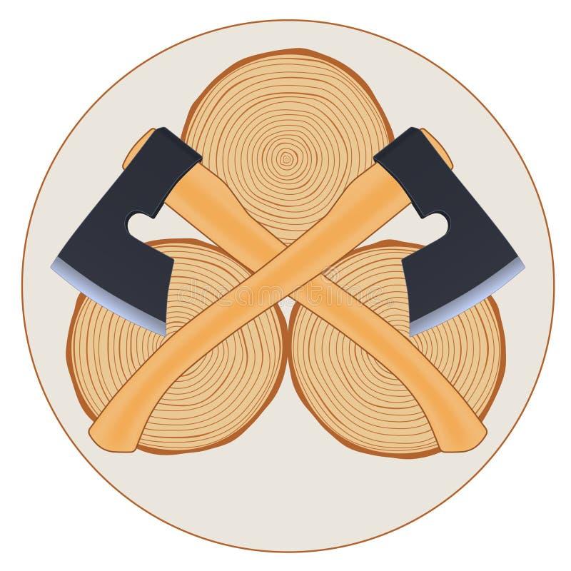 Logotipo del leñador con las hachas stock de ilustración