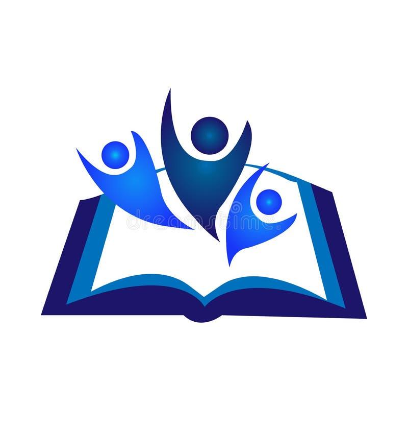 Logotipo del libro del trabajo en equipo stock de ilustración