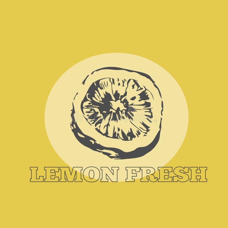 Logotipo del limón del drenaje de la mano stock de ilustración