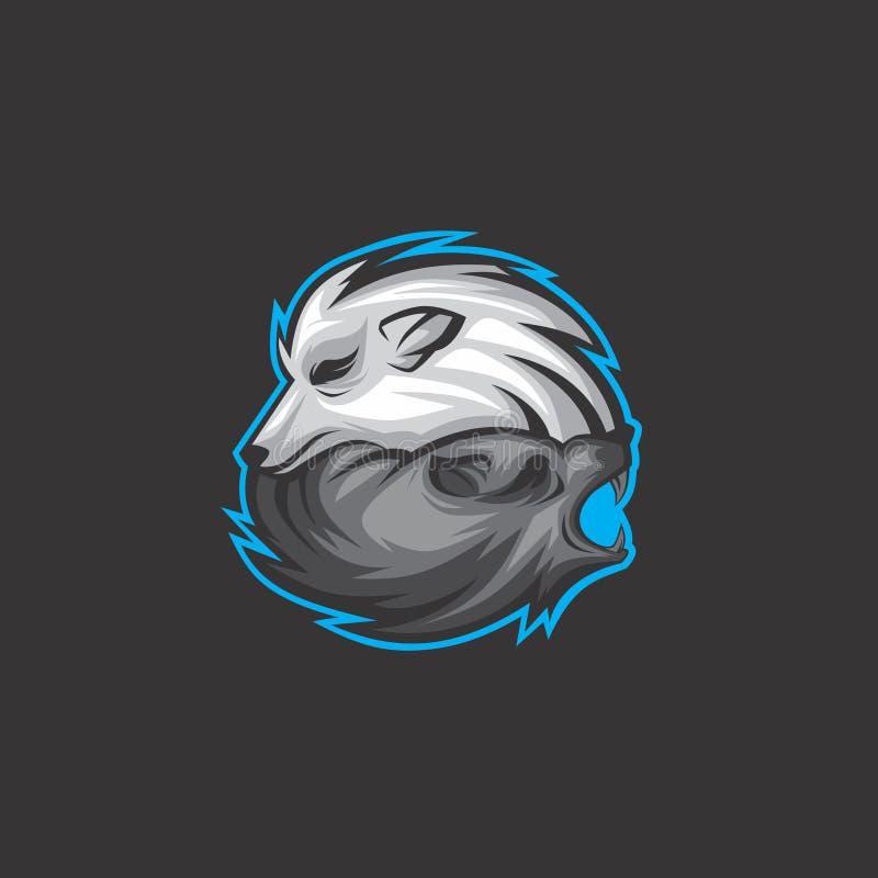 Logotipo del lobo de los gemelos ilustración del vector