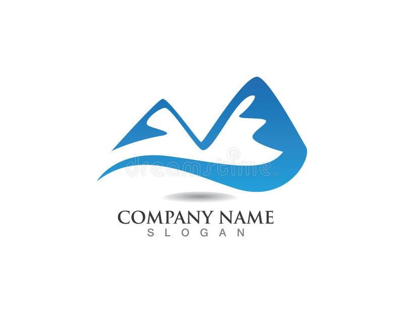 Logotipo del logolandscape de la montaña y plantilla de los iconos de los símbolos libre illustration