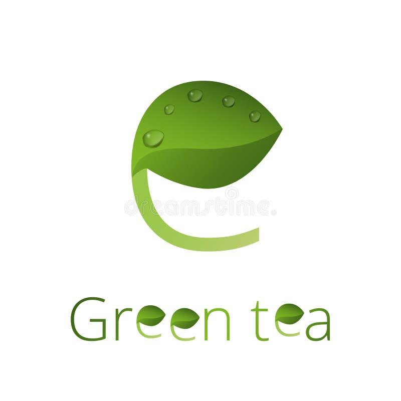 Logotipo del logotipo del té verde foto de archivo