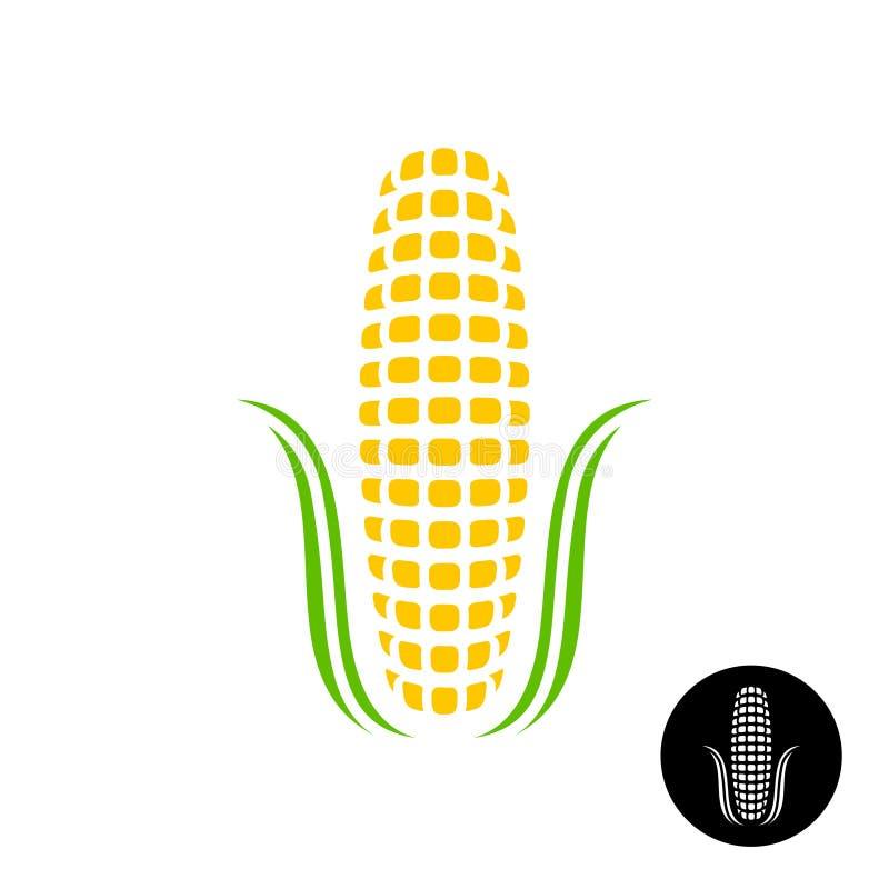 Logotipo del maíz Maíz simple con los granos y las hojas estilizados libre illustration