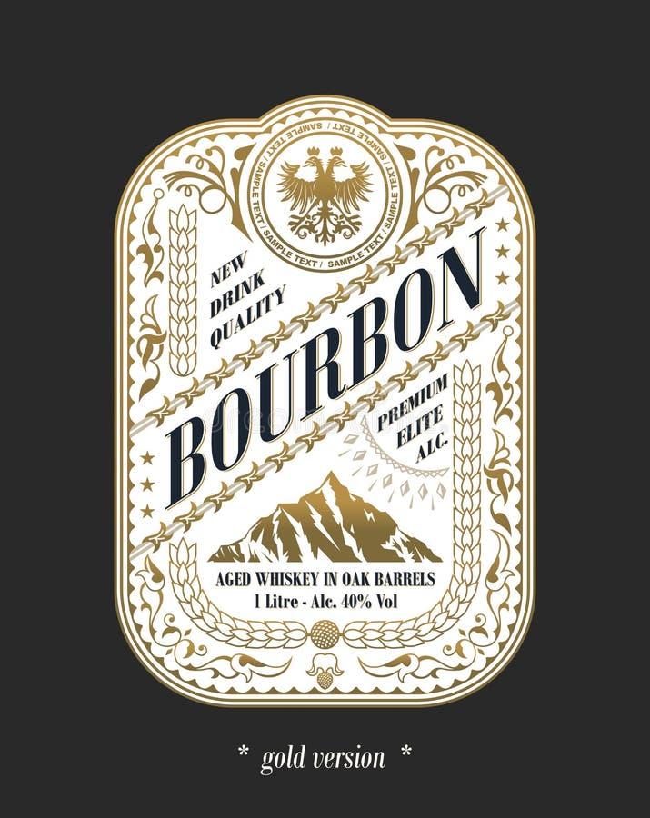Logotipo del marco del vintage Etiqueta del embalaje del vector Botella de cerveza de la etiqueta engomada del oro ilustración del vector