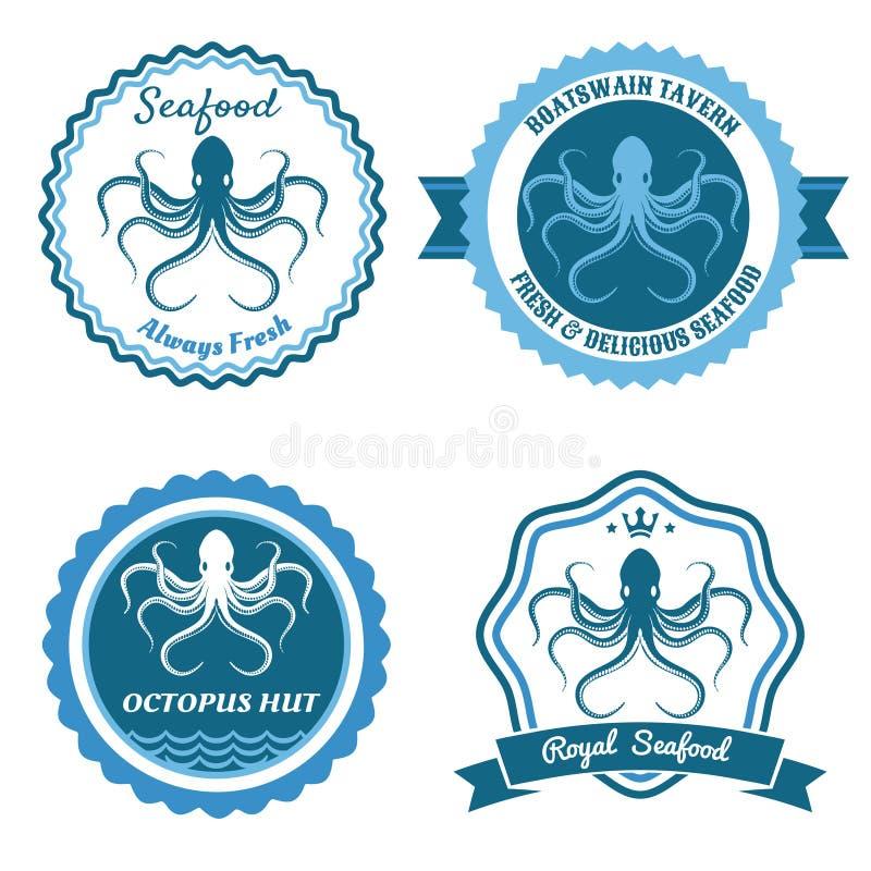 Logotipo del marisco del pulpo o sistema de la insignia stock de ilustración