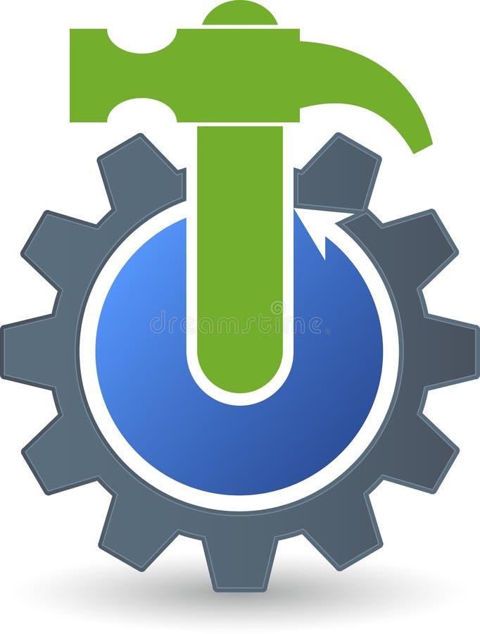 Logotipo del martillo del engranaje ilustración del vector