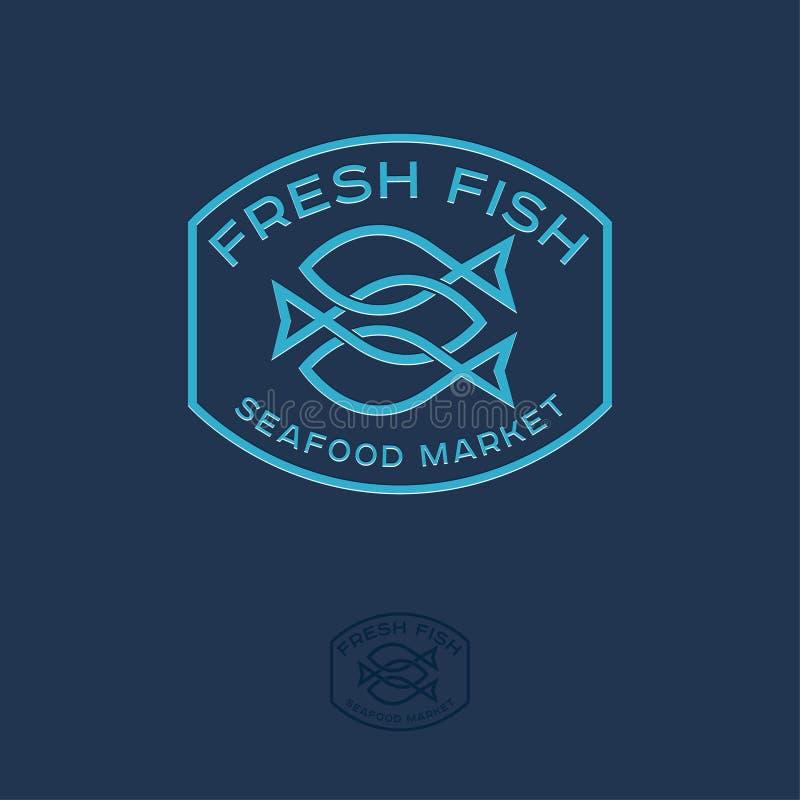 Logotipo del mercado de los mariscos Tres pescados cruzados en insignia Línea logotipo ilustración del vector