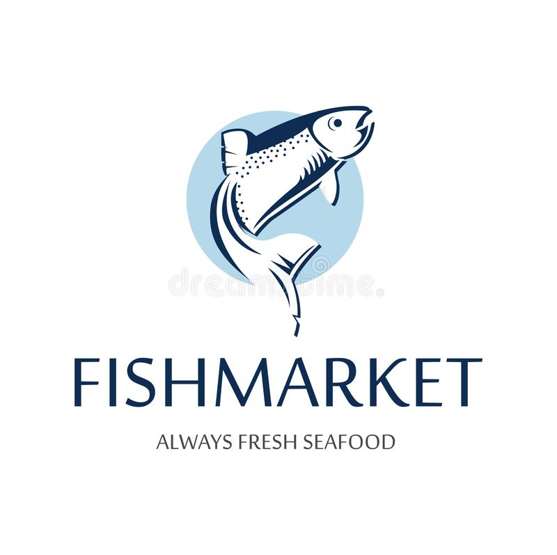 Logotipo del mercado de pescados Insignia retra de la silueta azul de salmones Etiqueta superior del vintage para el restaurante  ilustración del vector