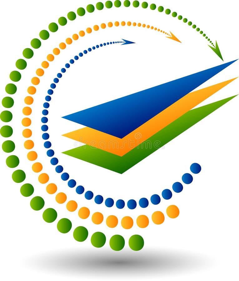 Logotipo del mundo de la flecha ilustración del vector