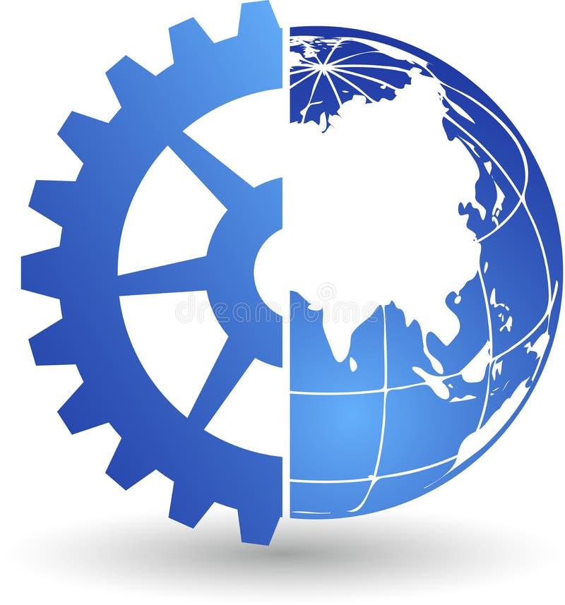 Logotipo del mundo del engranaje libre illustration