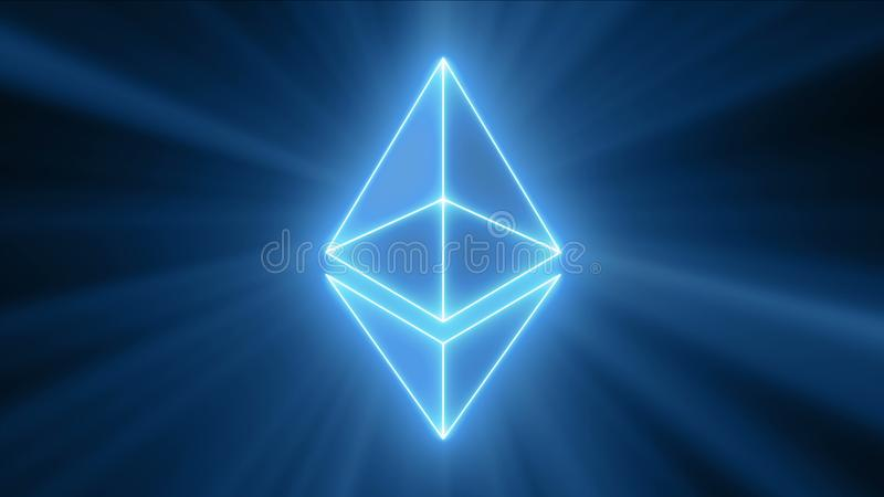 Logotipo del neón de Ethereum fotografía de archivo