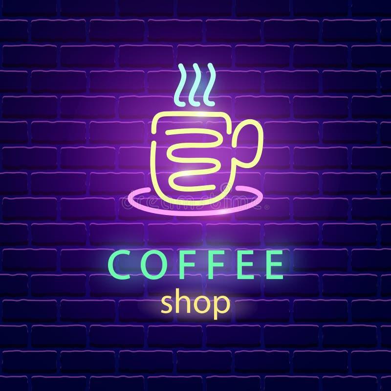 Logotipo del neón de la cafetería stock de ilustración