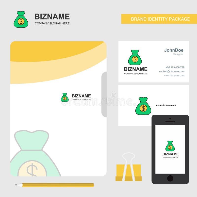 Logotipo del negocio del bolso del dinero, tarjeta de visita de la cubierta de fichero y diseño móvil del App Ilustración del vec ilustración del vector