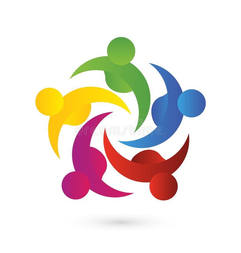 Logotipo del negocio del trabajo en equipo stock de ilustración
