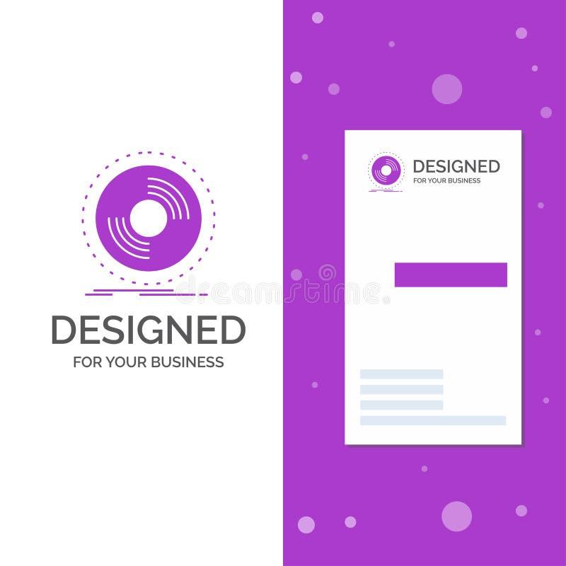 Logotipo del negocio para el disco, DJ, fonógrafo, expediente, vinilo r Fondo creativo stock de ilustración