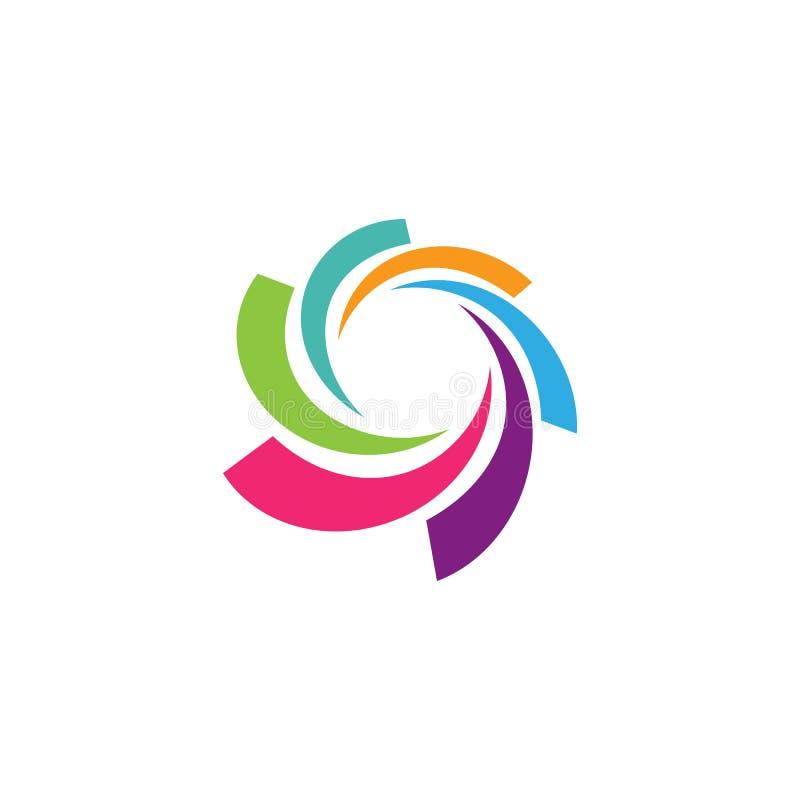 Logotipo del negocio, v?rtice, onda e icono del espiral stock de ilustración