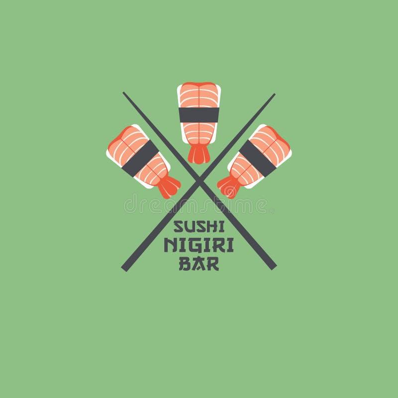 Logotipo del nigiri del sushi Emblema del restaurante de sushi Nigiri con los camarones ilustración del vector