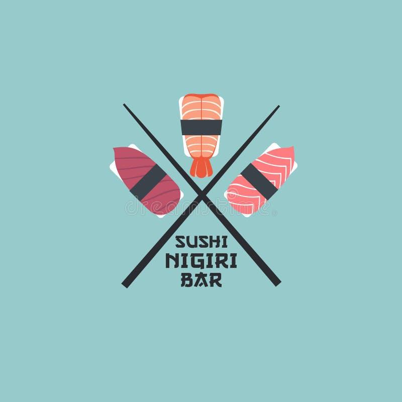 Logotipo del nigiri del sushi Emblema del restaurante de sushi Nigiri con los pescados y los camarones en un fondo ligero libre illustration