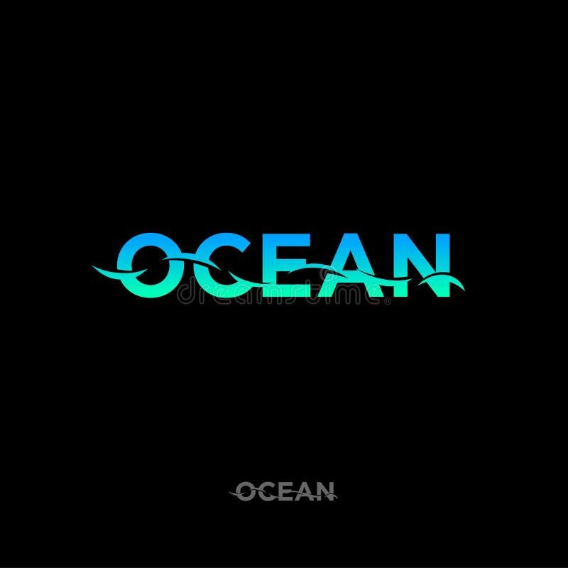 Logotipo del océano, emblema del mar, pescando el logotipo Letras azulverdes de la pendiente ilustración del vector