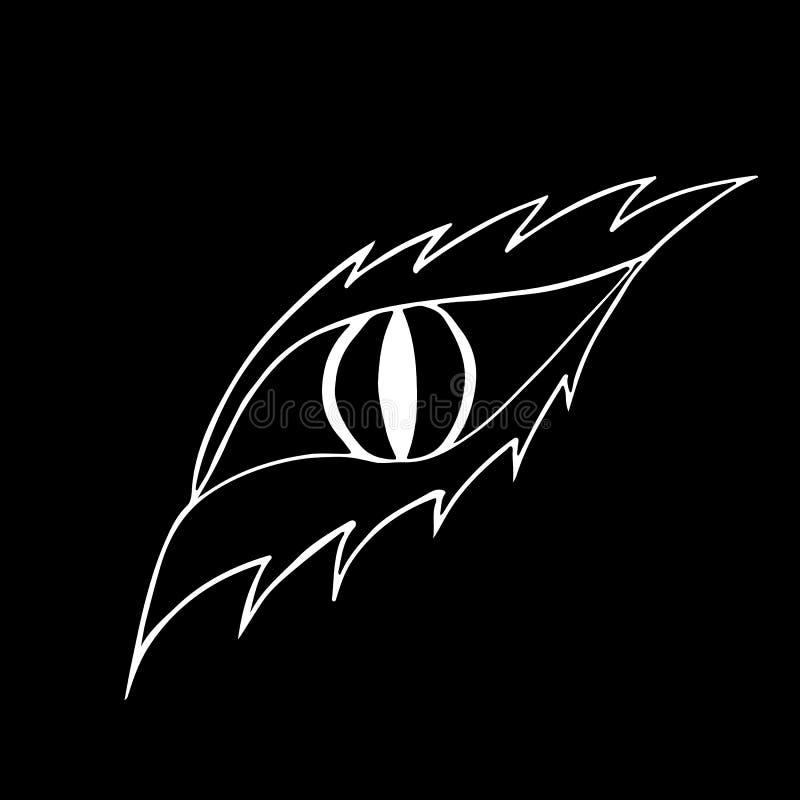 Logotipo del ojo del dragón para el diseño de juego aislado en fondo negro Cocodrilo, cocodrilo Icono del vector del ojo El panel libre illustration