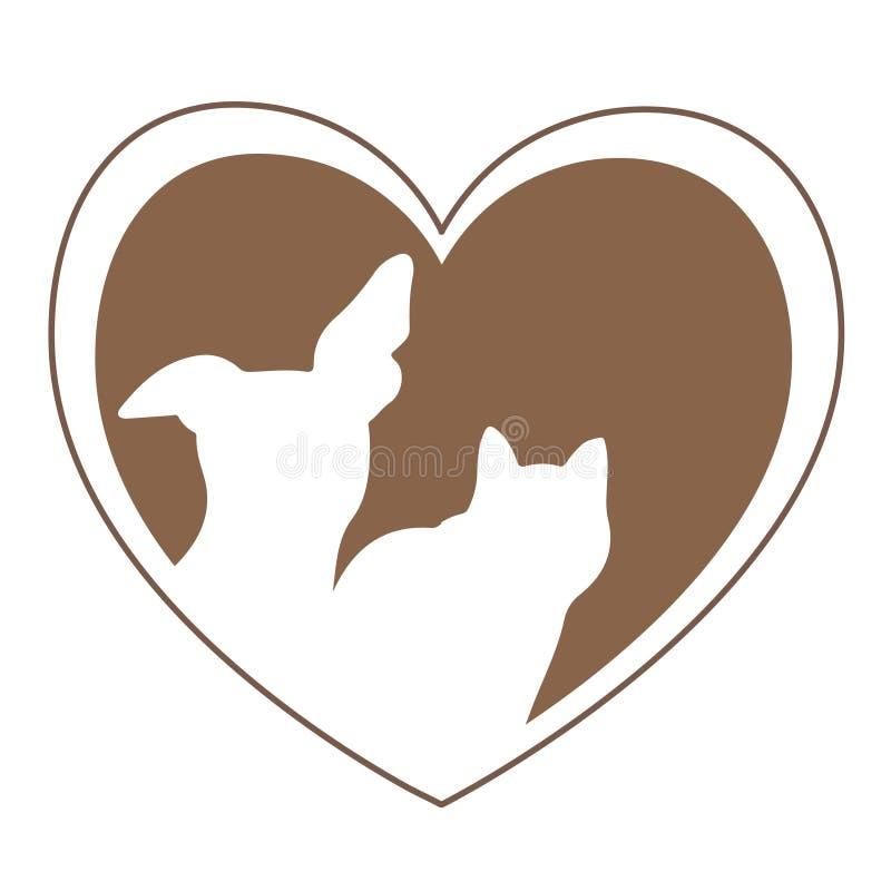 Logotipo del oro del corazón del amor del perro y del gato libre illustration