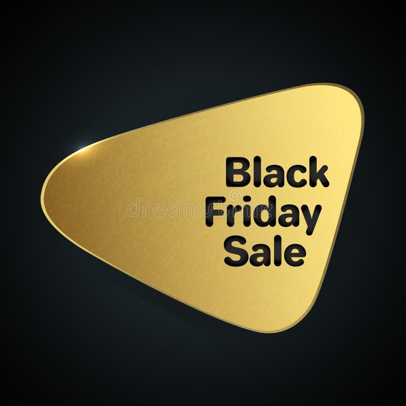 Logotipo del oro de la plantilla del extracto de la venta de Black Friday stock de ilustración