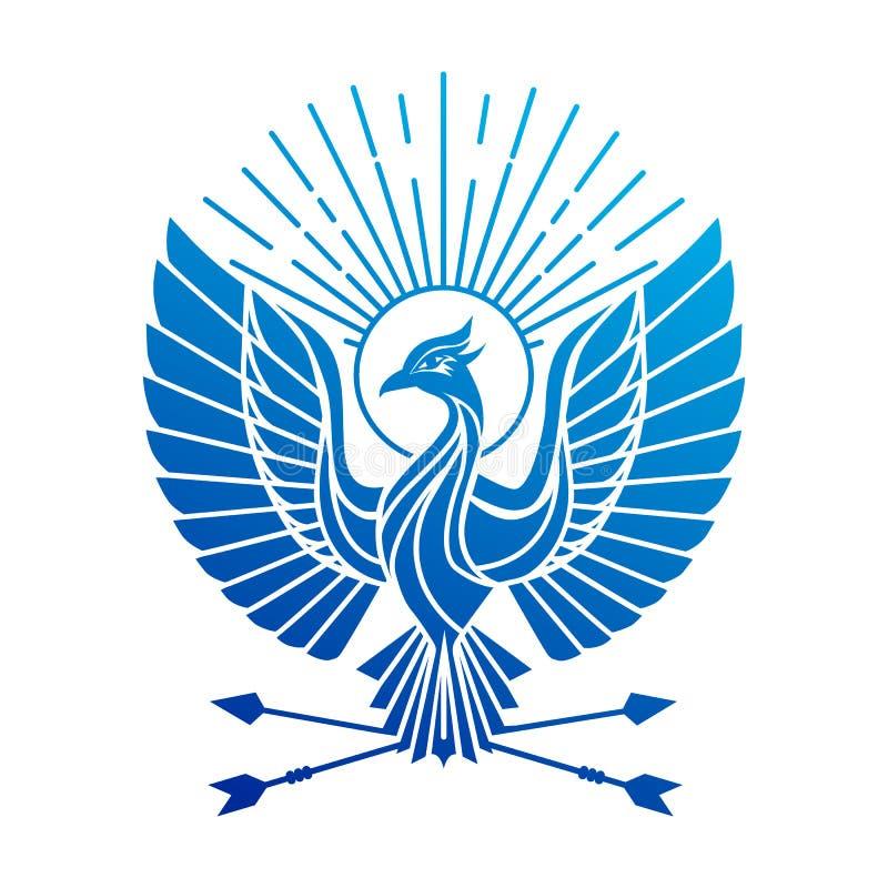 Logotipo del pájaro de Phoenix Logotipo flaing del vector del pájaro del pavo real Diseño geométrico abstracto del tatuaje de Fir stock de ilustración
