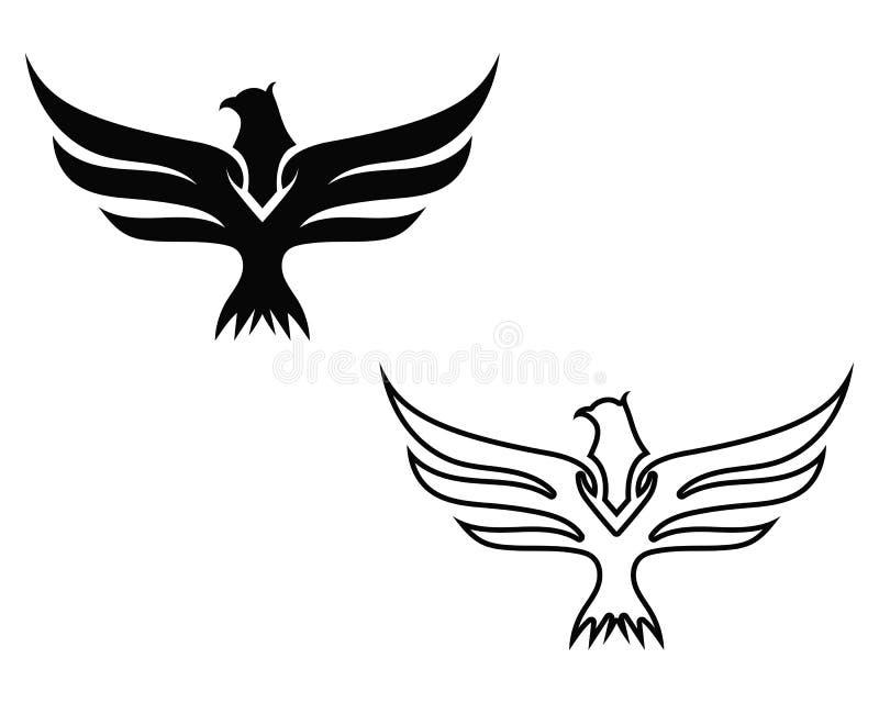 Logotipo del pájaro del halcón del ala ilustración del vector