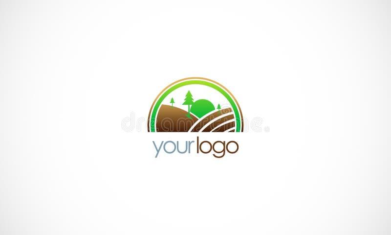 Logotipo del paisaje de la granja del país stock de ilustración