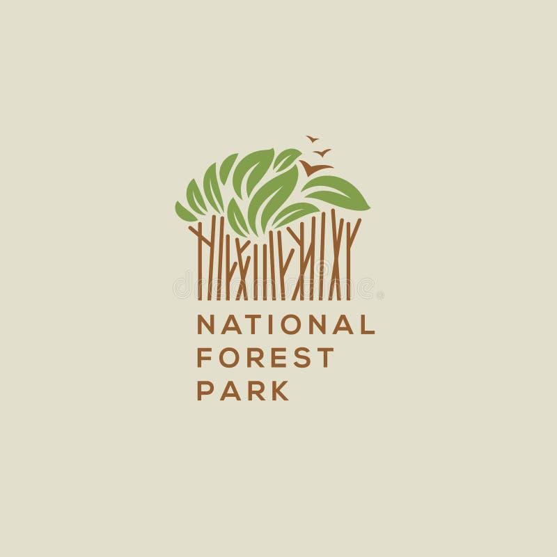 Logotipo del parque nacional del bosque ilustración del vector