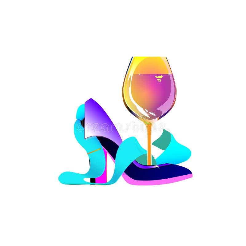 Logotipo del partido del negocio, mujeres de negocios, lazo del vino Concepto abstracto de la muchacha del zapato Ejemplo aislado ilustración del vector