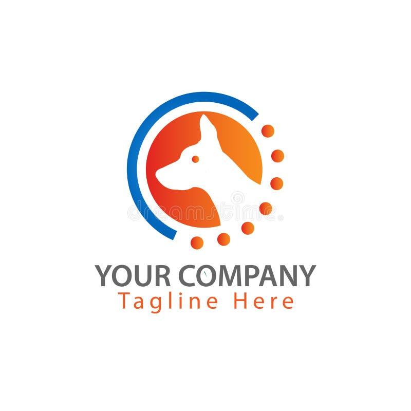 Logotipo del perro - cabeza y hojas Ejemplo en formato del vector ilustración del vector