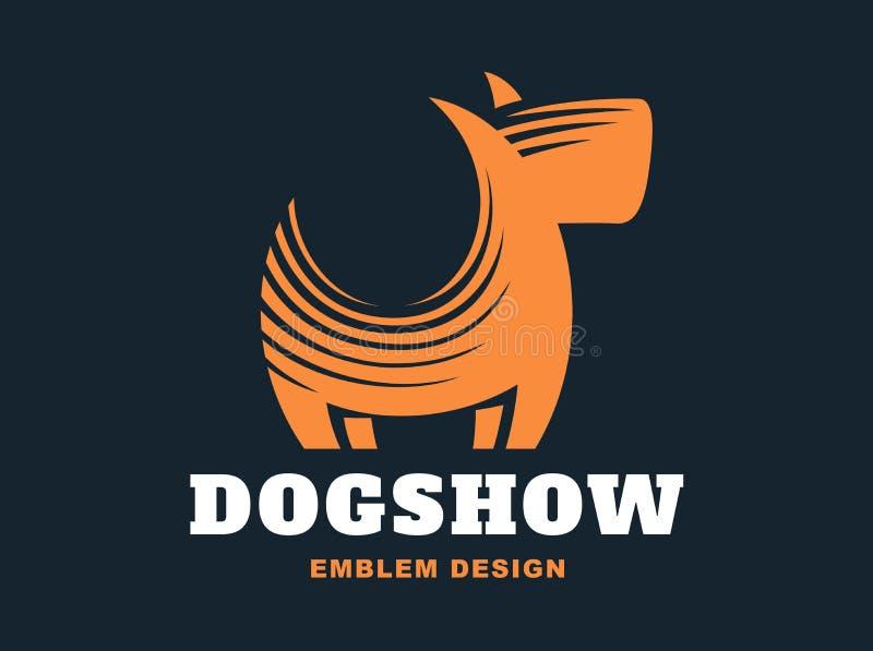 Logotipo del perro - vector el ejemplo, emblema en fondo oscuro stock de ilustración
