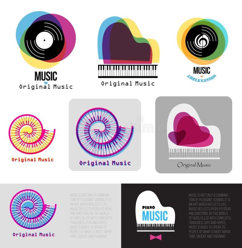 Logotipo del piano de la música Logotipo del jazz Logotipo de la muestra de los discos de vinilo stock de ilustración