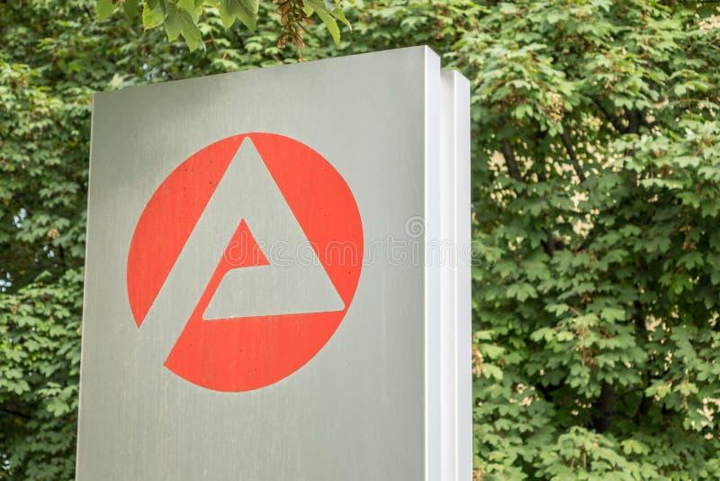 Logotipo del ¼ r Arbeit del fà de Agentur fotos de archivo libres de regalías