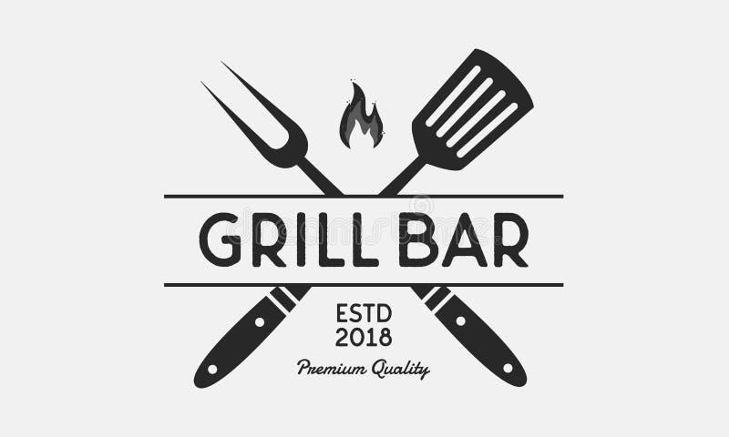 Logotipo del restaurante de la barra de la parrilla Bifurcación y espátula de la parrilla Emblema del Bbq del vintage modelo Ilus ilustración del vector