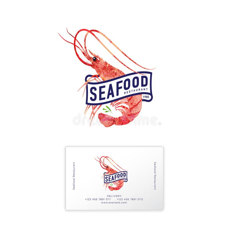 Logotipo del restaurante de los mariscos Camarón rojo, ejemplo de la acuarela Tarjeta de visita libre illustration