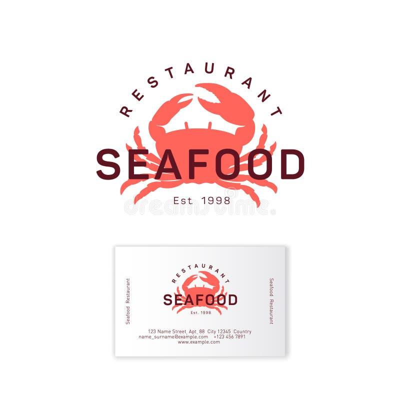 Logotipo del restaurante de los mariscos Emblema rojo de la silueta del cangrejo ilustración del vector